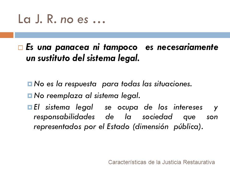 La J. R. no es … Es una panacea ni tampoco es necesariamente un sustituto del sistema legal. No es la respuesta para todas las situaciones. No reempla