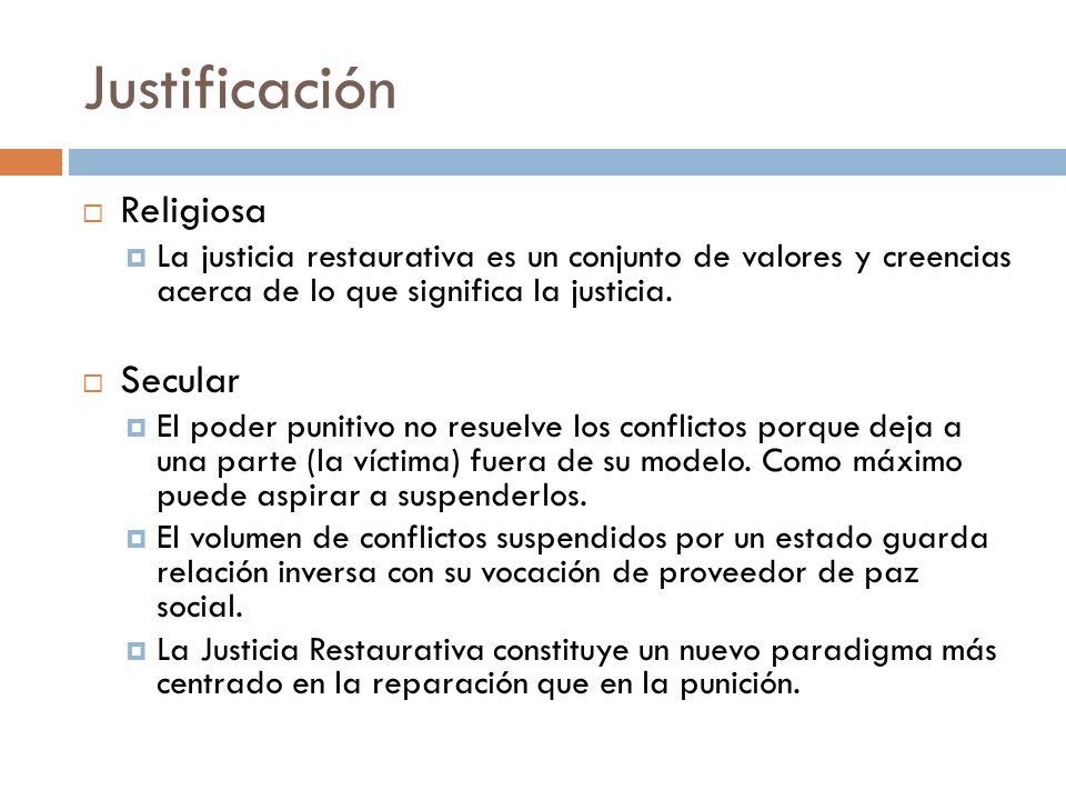 Justificación Religiosa La justicia restaurativa es un conjunto de valores y creencias acerca de lo que significa la justicia. Secular El poder puniti