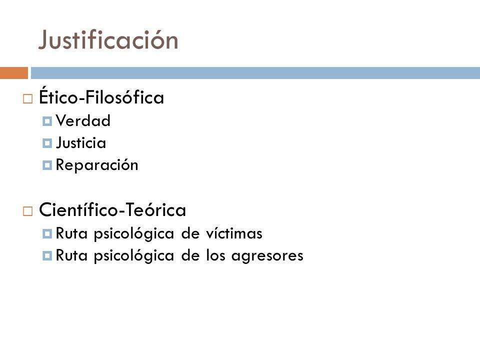Justificación Ético-Filosófica Verdad Justicia Reparación Científico-Teórica Ruta psicológica de víctimas Ruta psicológica de los agresores