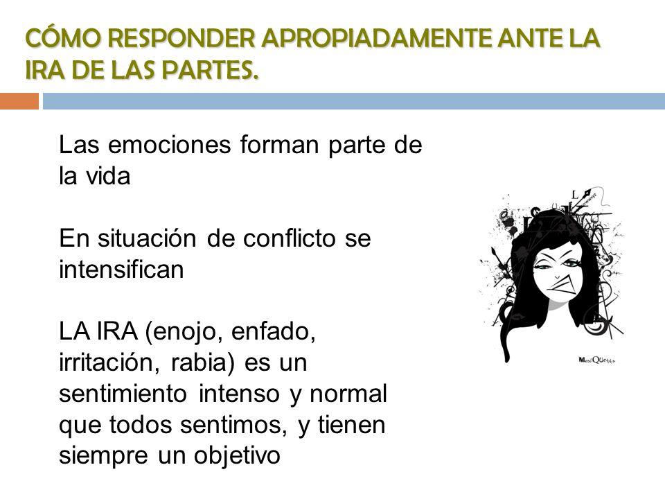 CÓMO RESPONDER APROPIADAMENTE ANTE LA IRA DE LAS PARTES. Las emociones forman parte de la vida En situación de conflicto se intensifican LA IRA (enojo