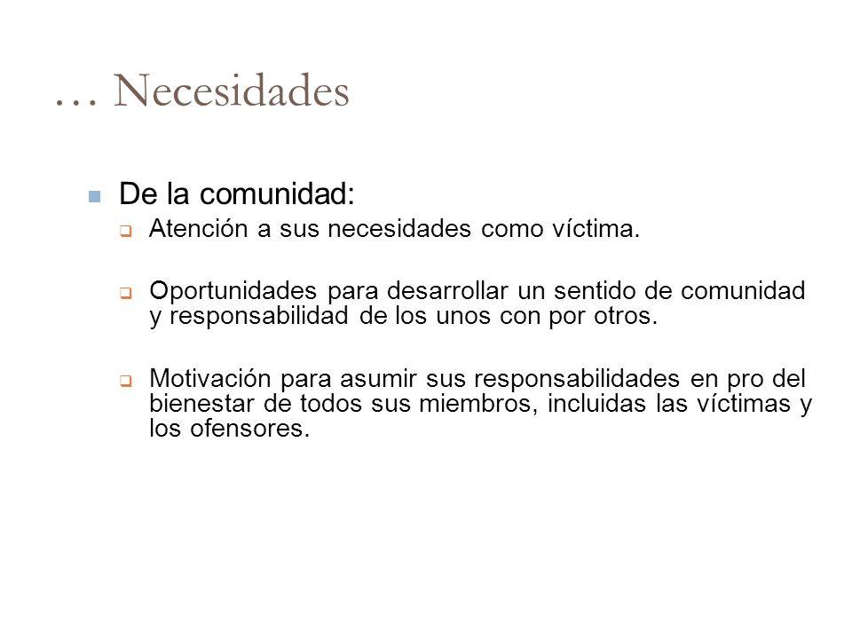 … Necesidades De la comunidad: Atención a sus necesidades como víctima. Oportunidades para desarrollar un sentido de comunidad y responsabilidad de lo