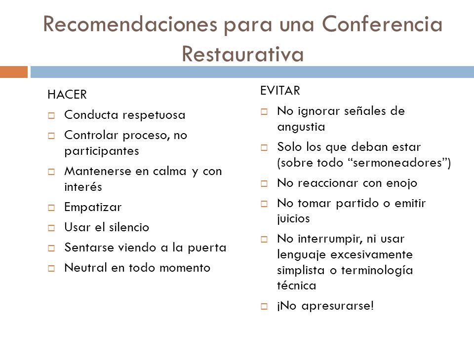 Recomendaciones para una Conferencia Restaurativa HACER Conducta respetuosa Controlar proceso, no participantes Mantenerse en calma y con interés Empa