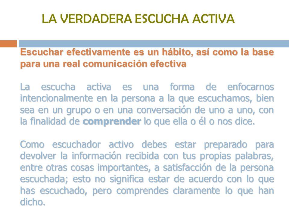 LA VERDADERA ESCUCHA ACTIVA Escuchar efectivamente es un hábito, así como la base para una real comunicación efectiva La escucha activa es una forma d