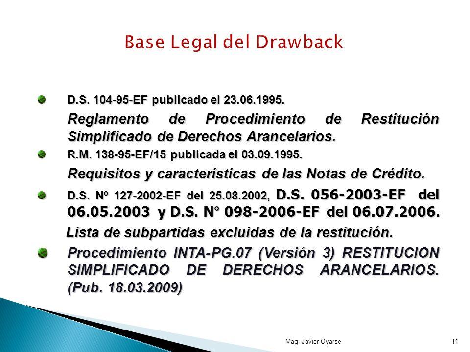Mag. Javier Oyarse11 Base Legal del Drawback D.S. 104-95-EF publicado el 23.06.1995. Reglamento de Procedimiento de Restitución Simplificado de Derech