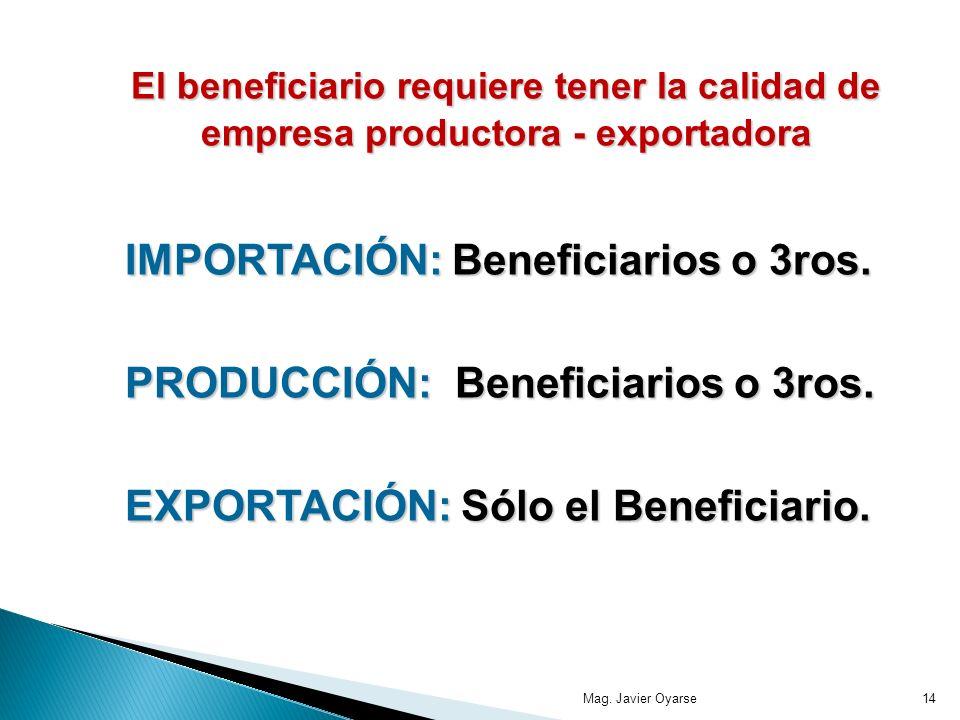 El beneficiario requiere tener la calidad de empresa productora - exportadora El beneficiario requiere tener la calidad de empresa productora - exportadora IMPORTACIÓN: Beneficiarios o 3ros.