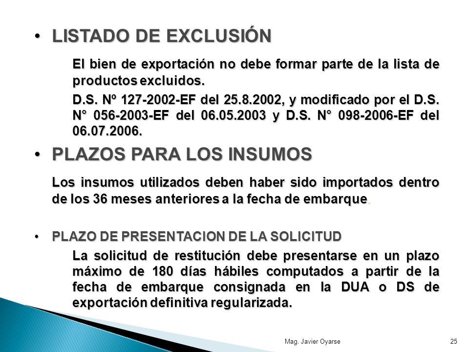 LISTADO DE EXCLUSIÓNLISTADO DE EXCLUSIÓN El bien de exportación no debe formar parte de la lista de productos excluidos. D.S. Nº 127-2002-EF del 25.8.