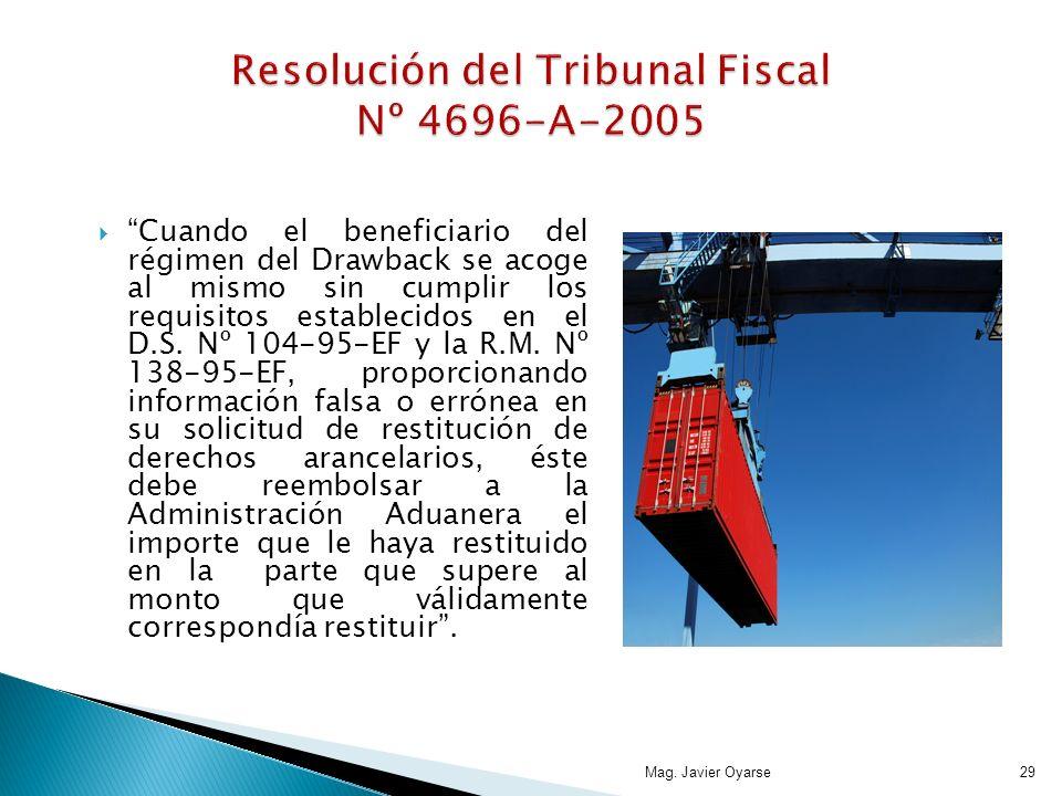 Cuando el beneficiario del régimen del Drawback se acoge al mismo sin cumplir los requisitos establecidos en el D.S. Nº 104-95-EF y la R.M. Nº 138-95-