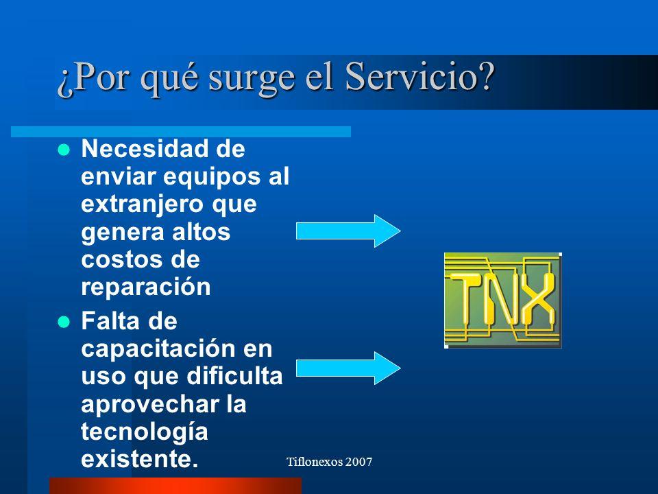 Tiflonexos 2007 ¿Por qué surge el Servicio? Necesidad de enviar equipos al extranjero que genera altos costos de reparación Falta de capacitación en u