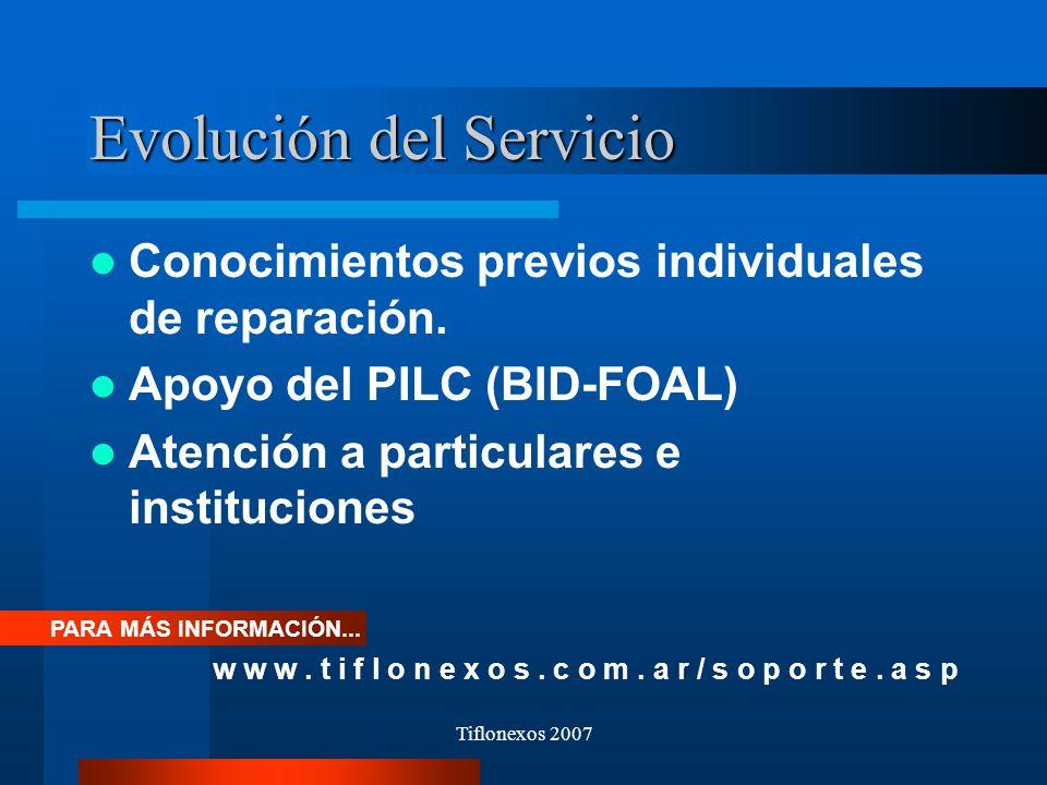 Tiflonexos 2007 Evolución del Servicio Conocimientos previos individuales de reparación. Apoyo del PILC (BID-FOAL) Atención a particulares e instituci