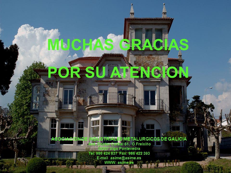 MUCHAS GRACIAS POR SU ATENCION ASOCIACION DE INDUSTRIALES METALURGICOS DE GALICIA Avd. Doctor Corbal 51, O Freixiño 36207 Vigo Pontevedra Tel: 986 424