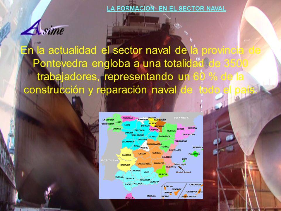En la actualidad el sector naval de la provincia de Pontevedra engloba a una totalidad de 3500 trabajadores, representando un 60 % de la construcción