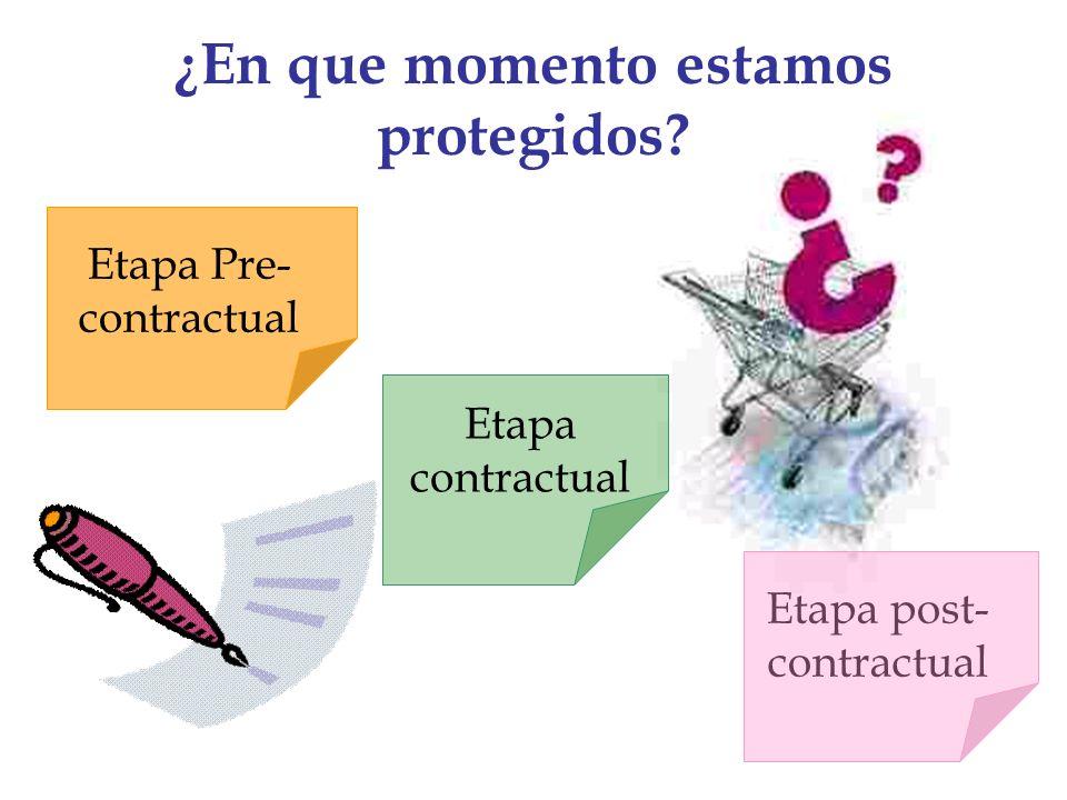 ¿En que momento estamos protegidos? Etapa post- contractual Etapa Pre- contractual Etapa contractual