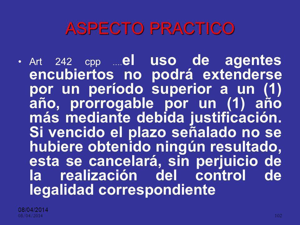 08/04/2014 101 ASPECTO ´PRACTICO ART. 240. Vigilancia de cosas. El fiscal que dirija la investigación, que tuviere motivos razonablemente fundados, de