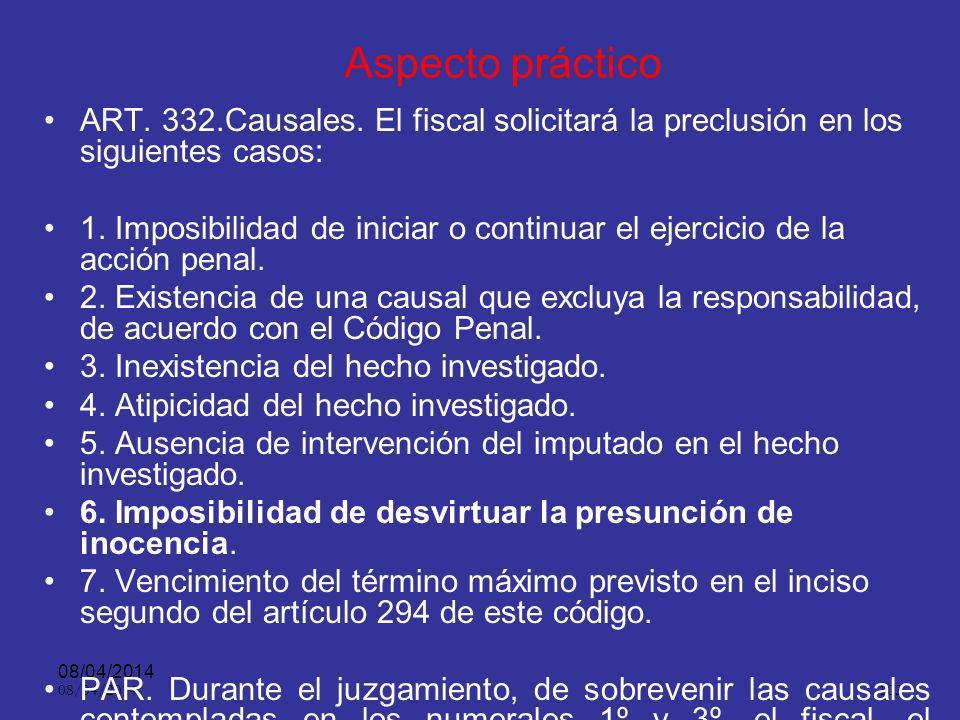 08/04/2014 102 ASPECTO PRACTICO Art 242 cpp …. el uso de agentes encubiertos no podrá extenderse por un período superior a un (1) año, prorrogable por