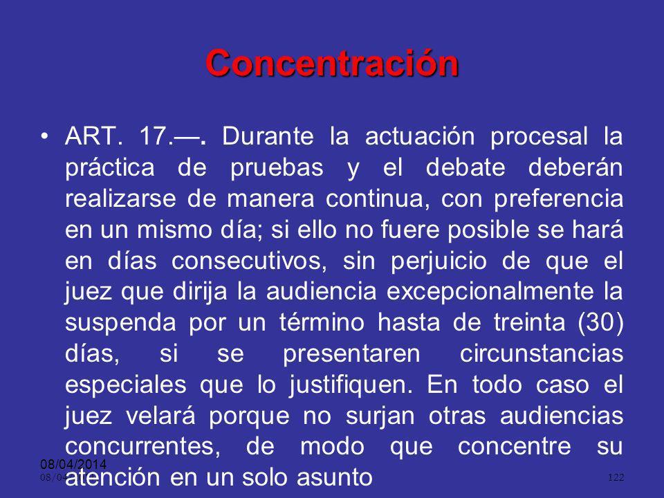 08/04/2014 121 Inmediación ART. 16.. En el juicio únicamente se estimará como prueba la que haya sido producida o incorporada en forma pública, oral,