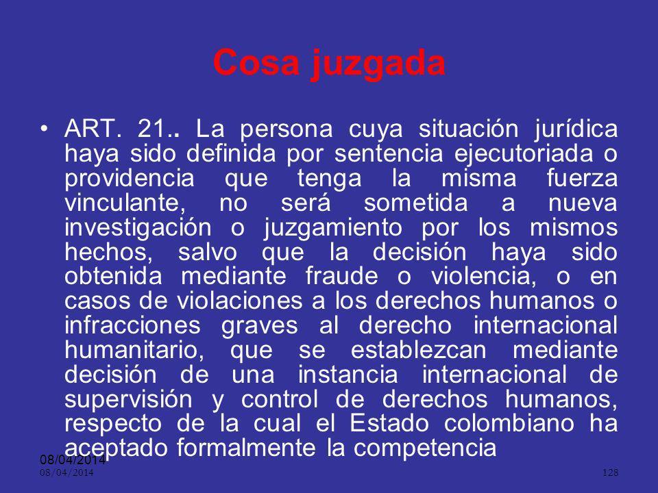 08/04/2014 127 Doble instancia ART. 20.. Las sentencias y los autos que se refieran a la libertad del imputado o acusado, que afecten la práctica de l