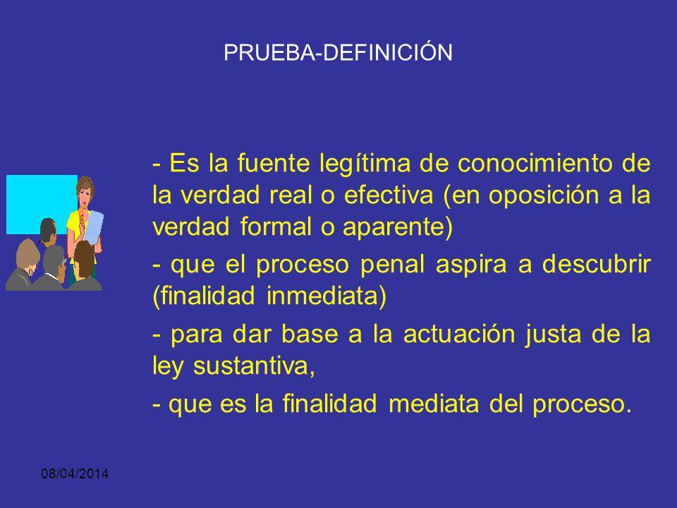 08/04/2014 PRUEBA-DEFINICIÓN Es todo elemento o dato objetivo, que se introduzca legalmente en el proceso y sea susceptible de producir en el ánimo de