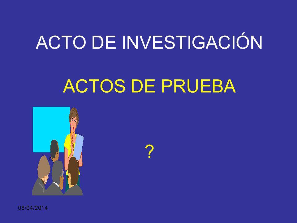 08/04/2014 PRUEBA-DEFINICIÓN DIFERENCIAR: Actos de Investigación (no es prueba). Elementos Materiales de Prueba y Evidencia Física (no es prueba). Pru