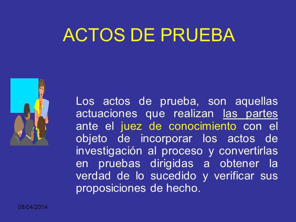 08/04/2014 ACTO DE INVESTIGACIÓN PROGRAMA METODOLÓGICO: Los actos de investigación se adelantan por la Fiscalía, la Defensa, el Ministerio Público y l