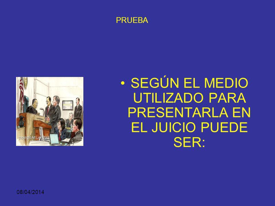 08/04/2014 ACTOS DE PRUEBA DESARROLLO NORMATIVO Las pruebas tienen como fin llevar al conocimiento del juez, más allá de duda razonable, los hechos y