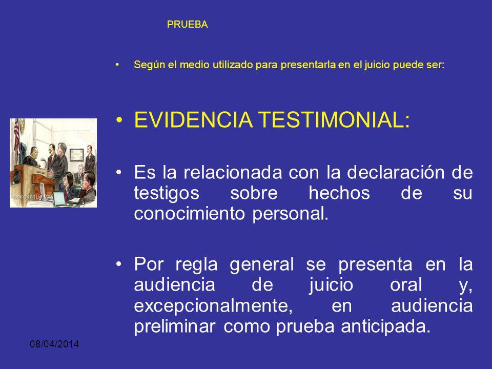08/04/2014 PRUEBA SEGÚN EL MEDIO UTILIZADO PARA PRESENTARLA EN EL JUICIO PUEDE SER: