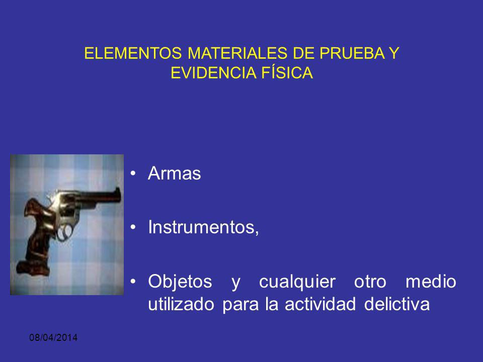 08/04/2014 ELEMENTOS MATERIALES DE PRUEBA Y EVIDENCIA FÍSICA Huellas-rastros- Manchas-residuos- Vestigios y similares, dejados por la ejecución de la