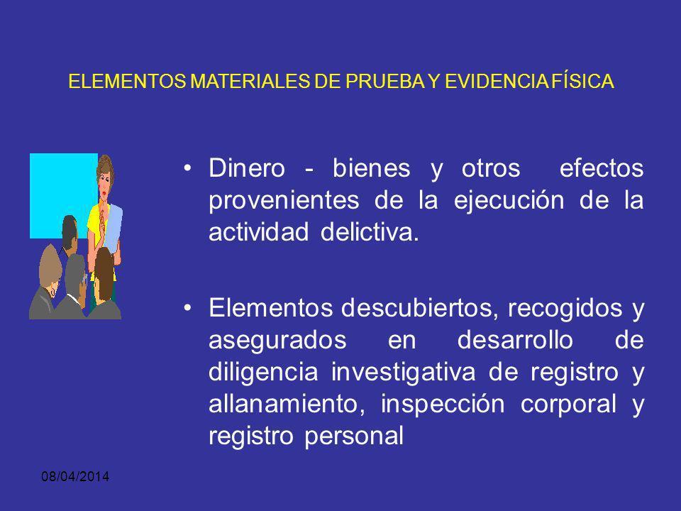 08/04/2014 ELEMENTOS MATERIALES DE PRUEBA Y EVIDENCIA FÍSICA Armas Instrumentos, Objetos y cualquier otro medio utilizado para la actividad delictiva