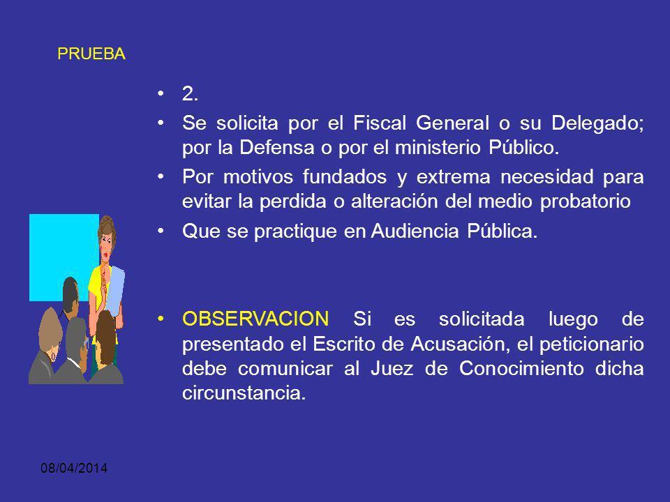 08/04/2014 PRUEBA OPORTUNIDAD DE SU PRACTICA: 1. COMO PRUEBA ANTICIPADA: Durante la Investigación y hasta antes de la instalación de la Audiencia de J