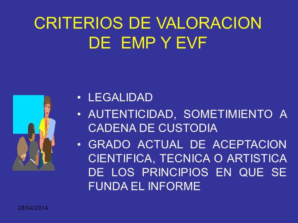 08/04/2014 AUTENTICIDAD DE LOS EMP Y EVF FINALIZACION DE LA CADENA DE CUSTODIA Por orden de autoridad.