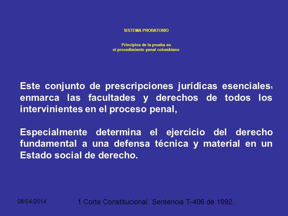 08/04/2014 SISTEMA PROBATORIO PRINCIPIOS DE LA PRUEBA EN EL PROCEDIMIENTO PENAL COLOMBIANO