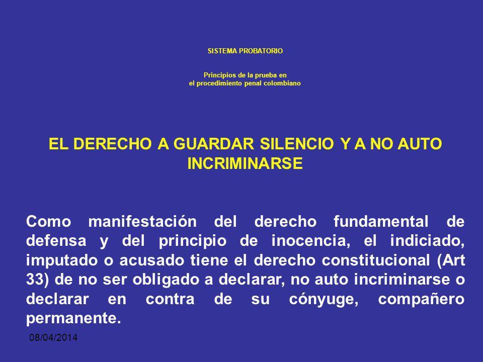 08/04/2014 SISTEMA PROBATORIO Principios de la prueba en el procedimiento penal colombiano 1. Principio de presunción de inocencia Como lo sintetiza e