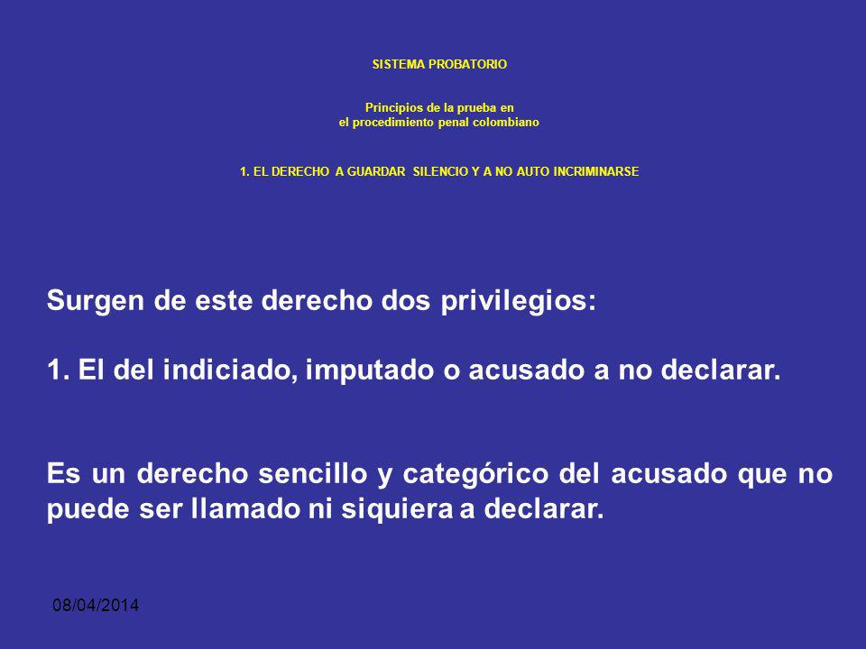 08/04/2014 SISTEMA PROBATORIO Principios de la prueba en el procedimiento penal colombiano EL DERECHO A GUARDAR SILENCIO Y A NO AUTO INCRIMINARSE Como manifestación del derecho fundamental de defensa y del principio de inocencia, el indiciado, imputado o acusado tiene el derecho constitucional (Art 33) de no ser obligado a declarar, no auto incriminarse o declarar en contra de su cónyuge, compañero permanente.