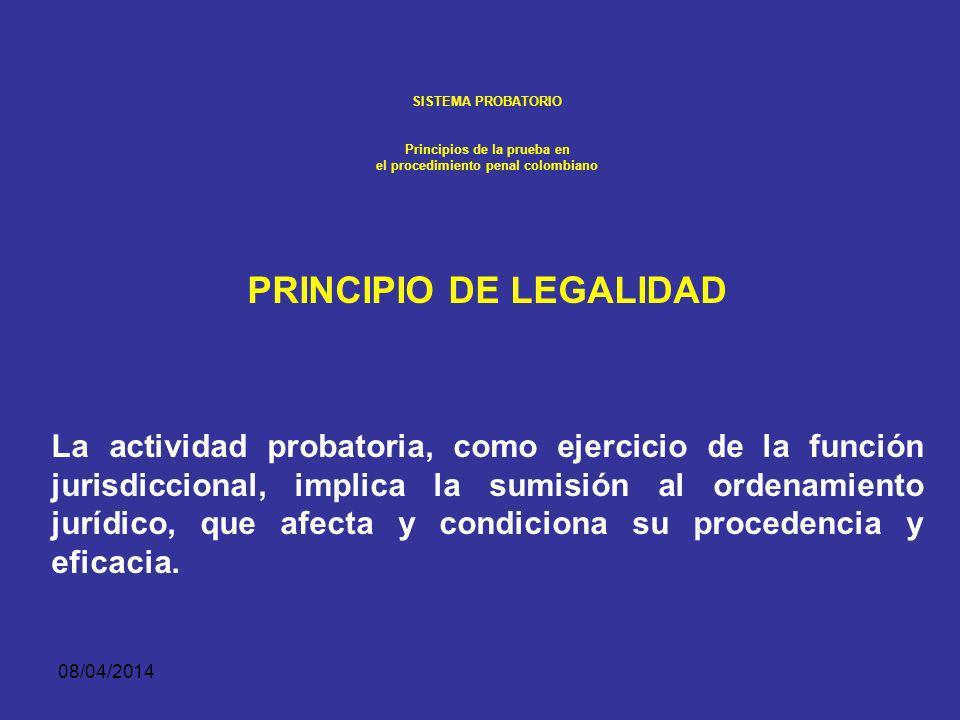 08/04/2014 SISTEMA PROBATORIO Principios de la prueba en el procedimiento penal colombiano 1. EL DERECHO A GUARDAR SILENCIO Y A NO AUTO INCRIMINARSE D