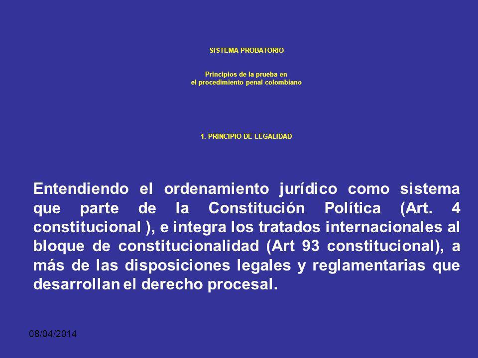08/04/2014 SISTEMA PROBATORIO Principios de la prueba en el procedimiento penal colombiano PRINCIPIO DE LEGALIDAD La actividad probatoria, como ejerci