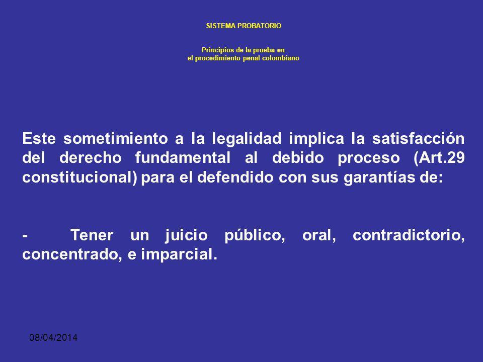 08/04/2014 SISTEMA PROBATORIO Principios de la prueba en el procedimiento penal colombiano 1. PRINCIPIO DE LEGALIDAD Entendiendo el ordenamiento juríd