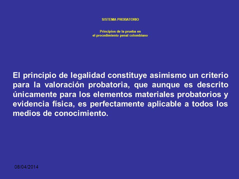 08/04/2014 SISTEMA PROBATORIO Principios de la prueba en el procedimiento penal colombiano Solicitar, conocer y controvertir las pruebas. Obtener el c