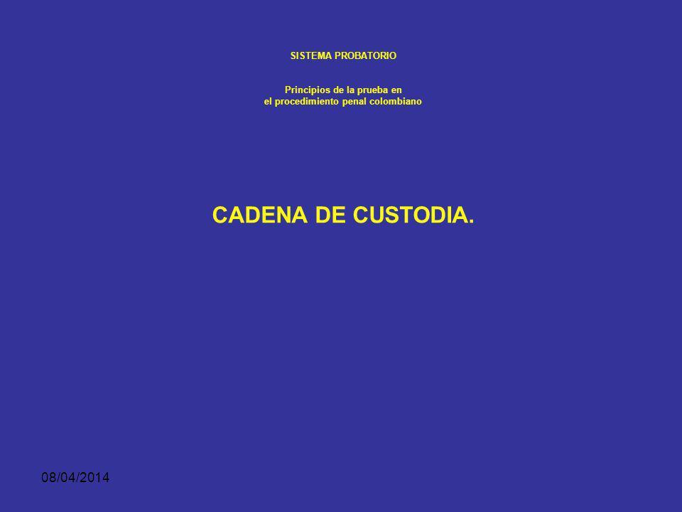 08/04/2014 SISTEMA PROBATORIO Principios de la prueba en el procedimiento penal colombiano Los elementos materiales probatorios y la evidencia física