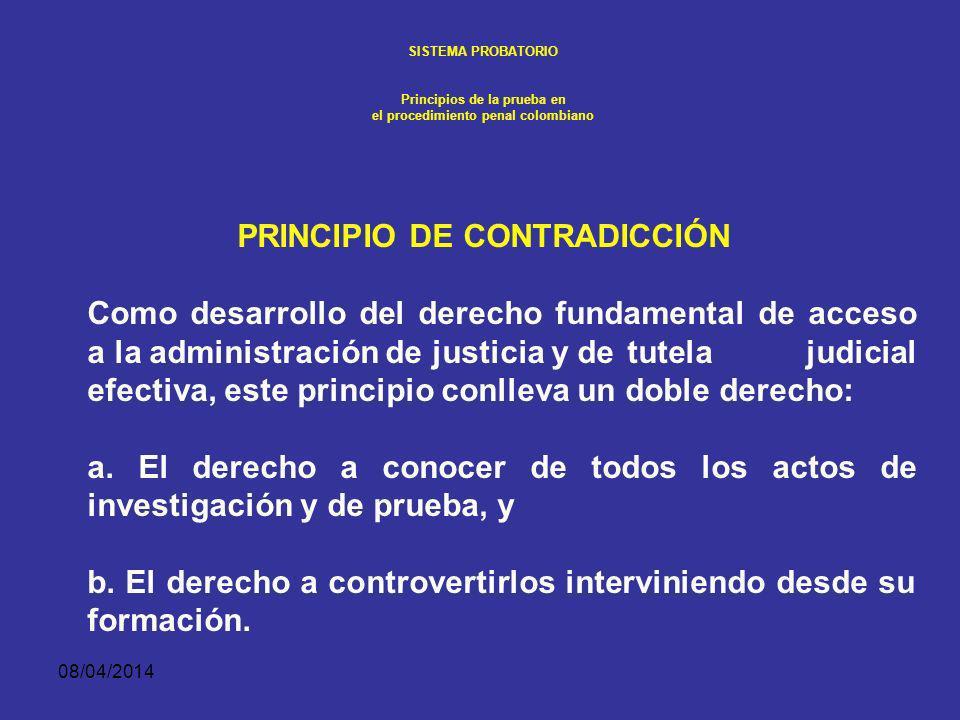 08/04/2014 SISTEMA PROBATORIO Principios de la prueba en el procedimiento penal colombiano DESARROLLO NORMATIVO Principio de libertad probatoria LIBER