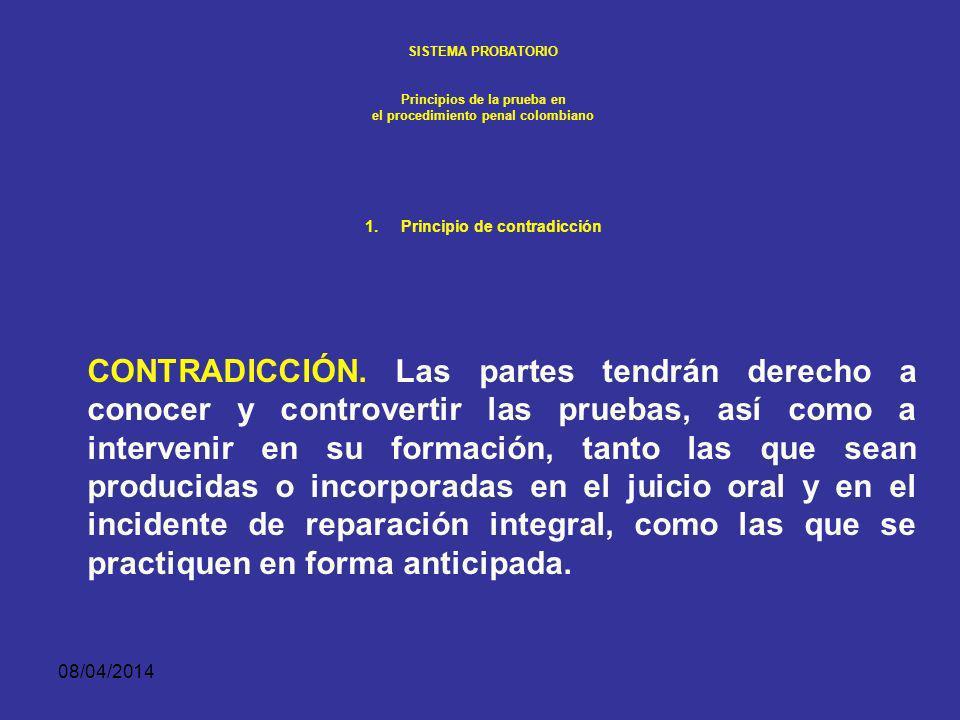 08/04/2014 SISTEMA PROBATORIO Principios de la prueba en el procedimiento penal colombiano PRINCIPIO DE CONTRADICCIÓN Como desarrollo del derecho fundamental de acceso a la administración de justicia y de tutela judicial efectiva, este principio conlleva un doble derecho: a.