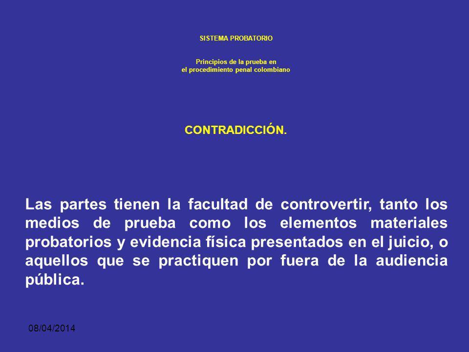 08/04/2014 SISTEMA PROBATORIO Principios de la prueba en el procedimiento penal colombiano Principio de contradicción DERECHOS Y FACULTADES. La defens