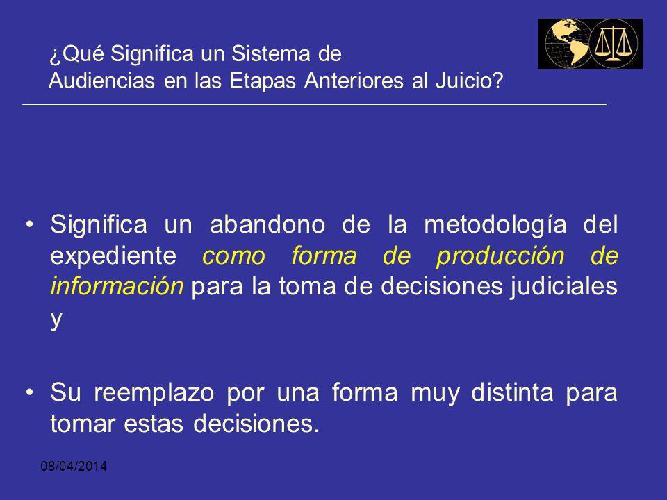 08/04/2014 ¿Qué Significa un Sistema de Audiencias en las Etapas Anteriores al Juicio? Un sistema oral se caracteriza por la existencia de audiencias