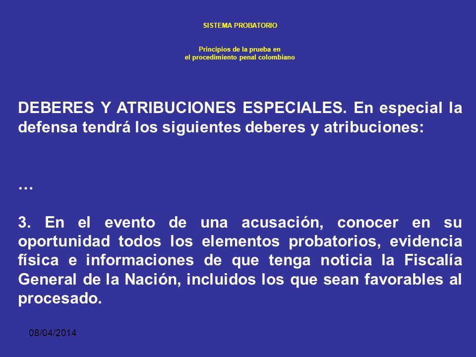 08/04/2014 SISTEMA PROBATORIO Principios de la prueba en el procedimiento penal colombiano INICIO DEL DESCUBRIMIENTO. Sin embargo, si durante el juici