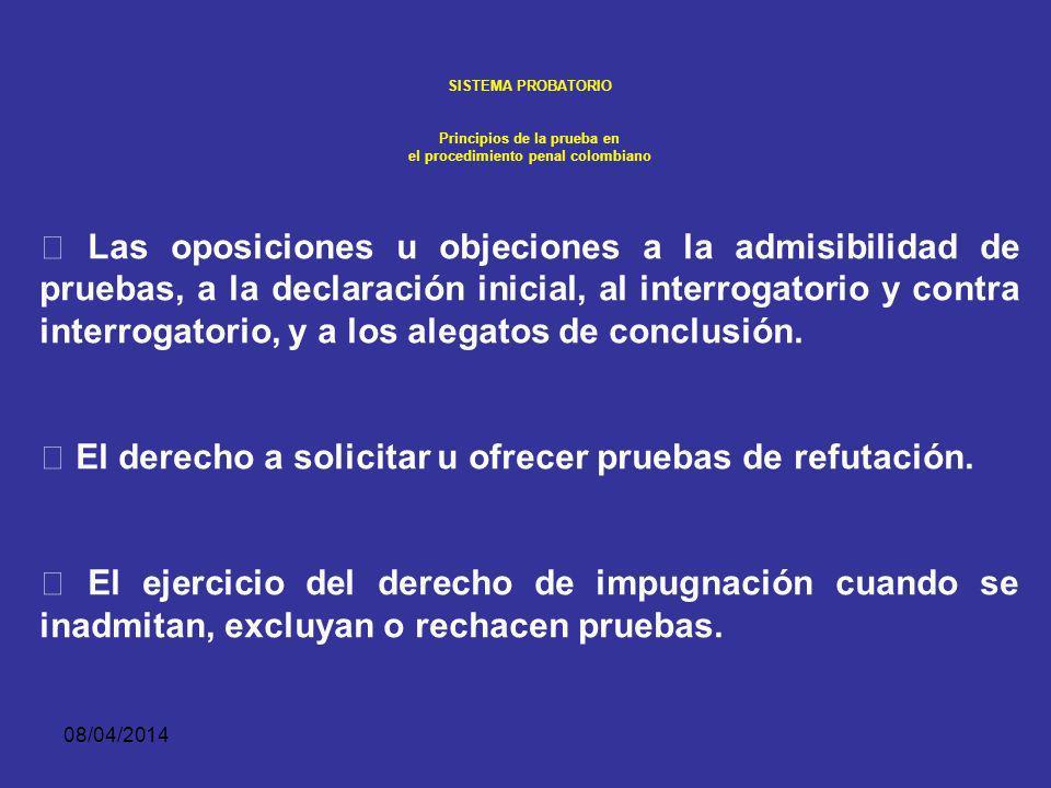 08/04/2014 SISTEMA PROBATORIO Principios de la prueba en el procedimiento penal colombiano REGLAS SOBRE EL CONTRAINTERROGATORIO: b) Para contrainterro