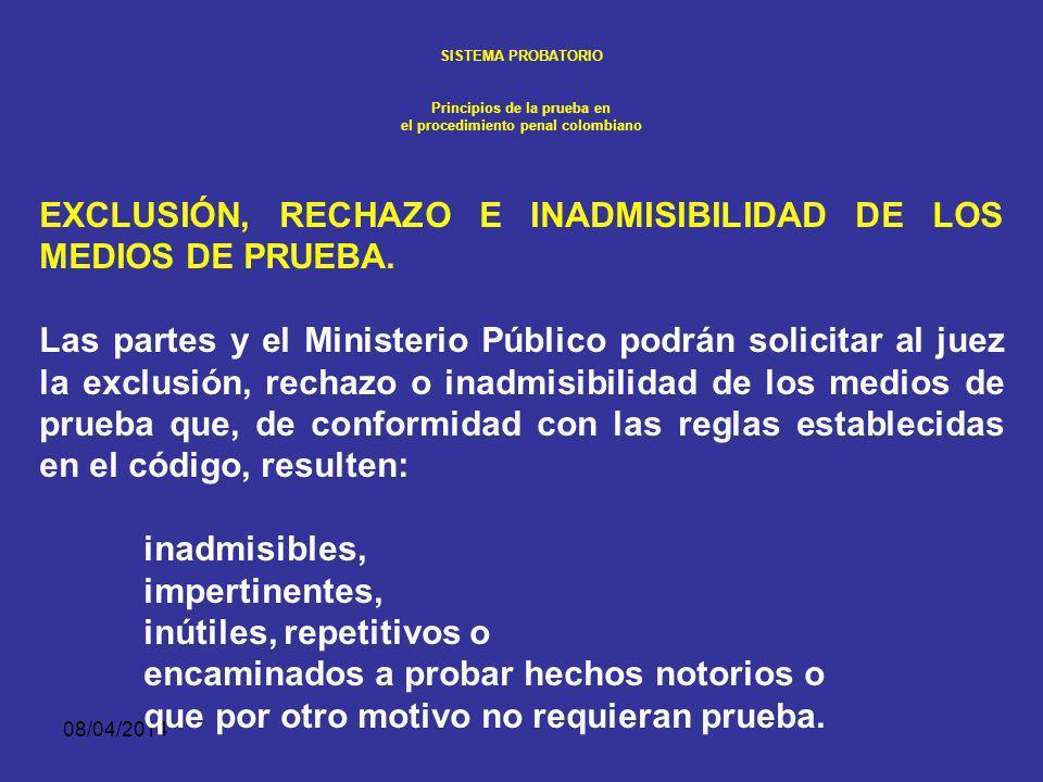 08/04/2014 SISTEMA PROBATORIO Principios de la prueba en el procedimiento penal colombiano Las oposiciones u objeciones a la admisibilidad de pruebas, a la declaración inicial, al interrogatorio y contra interrogatorio, y a los alegatos de conclusión.