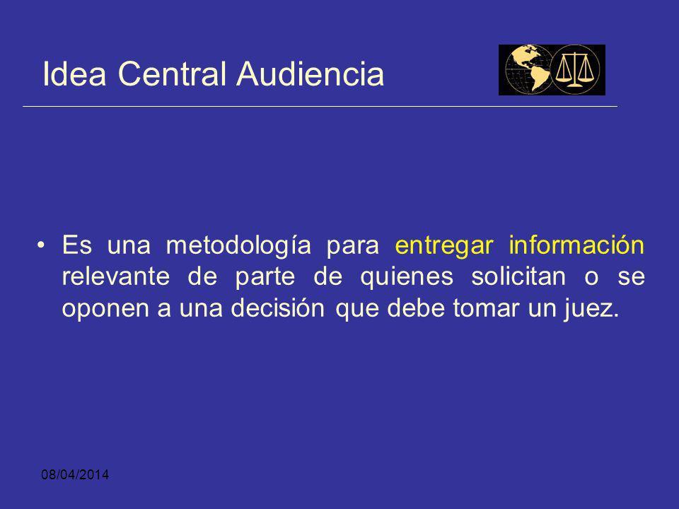08/04/2014 ¿Qué Significa un Sistema de Audiencias en las Etapas Anteriores al Juicio? Significa un abandono de la metodología del expediente como for