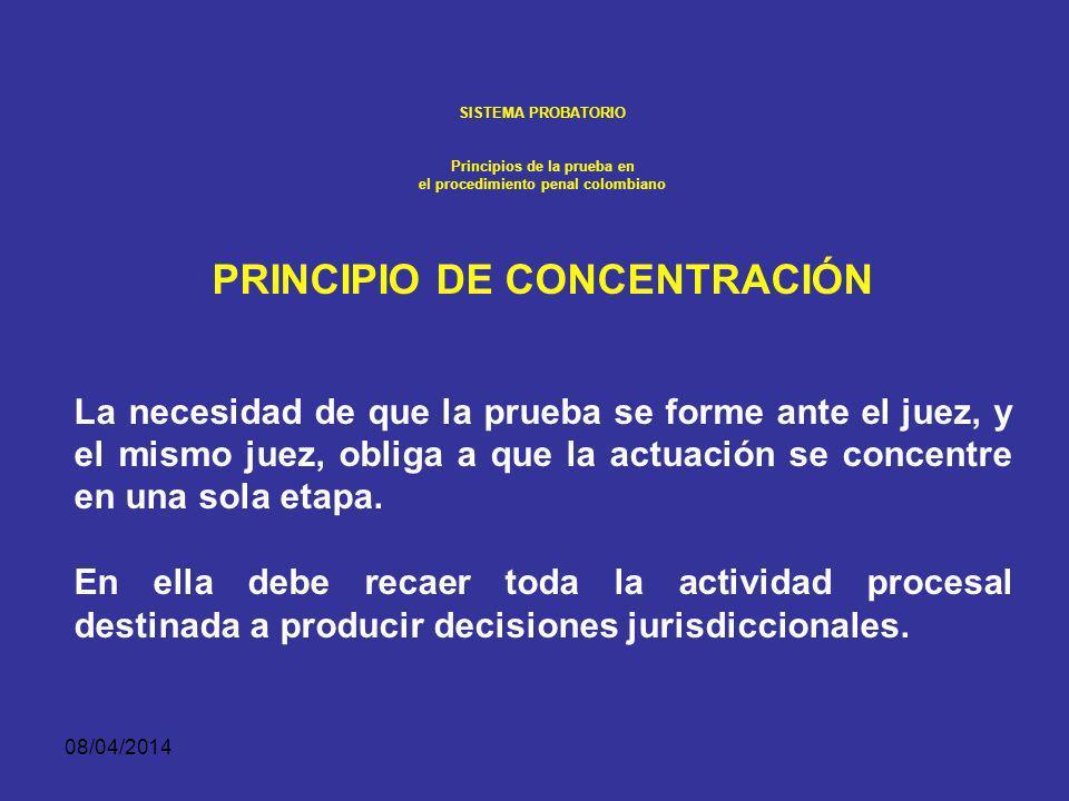 08/04/2014 SISTEMA PROBATORIO Principios de la prueba en el procedimiento penal colombiano PRUEBA ANTICIPADA. Durante la investigación y hasta antes d