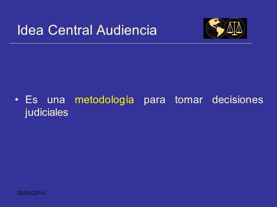 08/04/2014 Idea Central Audiencia Es una metodología para entregar información relevante de parte de quienes solicitan o se oponen a una decisión que debe tomar un juez.
