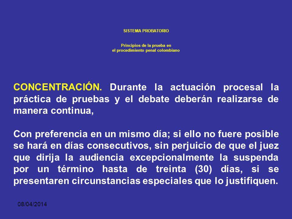 08/04/2014 SISTEMA PROBATORIO Principios de la prueba en el procedimiento penal colombiano Principio de concentración Esto tanto para jueces de contro