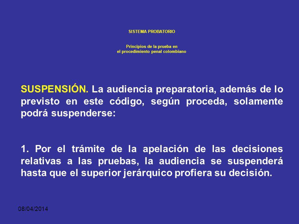 08/04/2014 SISTEMA PROBATORIO Principios de la prueba en el procedimiento penal colombiano RECURSOS ORDINARIOS.