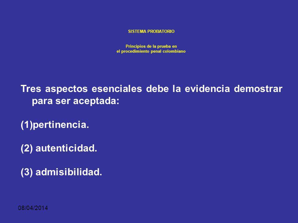 08/04/2014 SISTEMA PROBATORIO Principios de la prueba en el procedimiento penal colombiano PREGUNTA: ¿Dónde estaba usted al mediodía del 9 de enero de